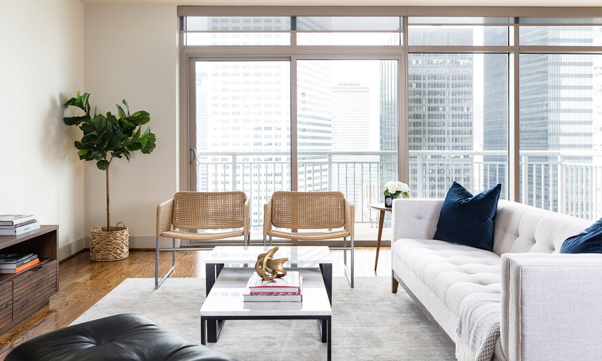 Living Area | One Park Place Award Winning Luxury Living In Downtown Houston