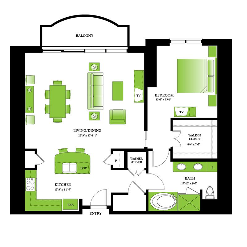 Apple Floor Plan | One Park Place Downtown Houston High Rise