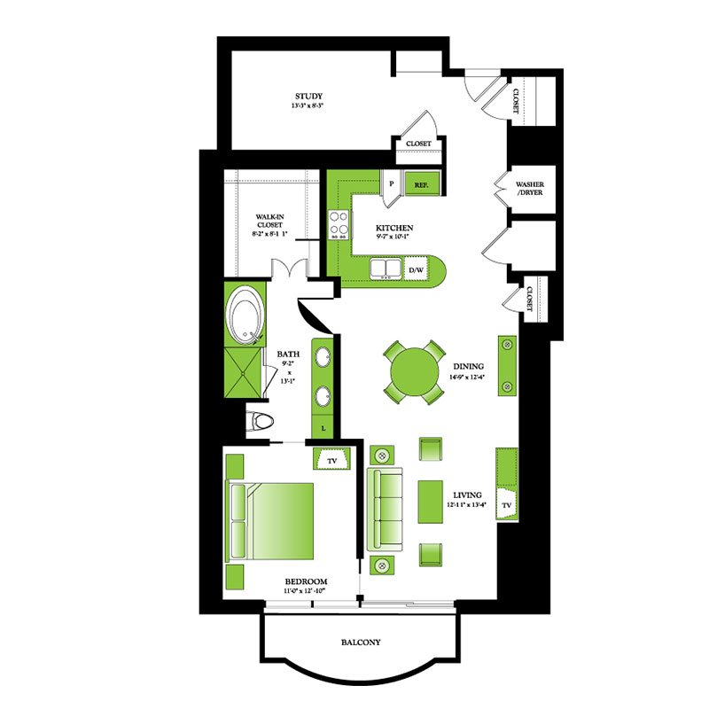 Birch Floor Plan | One Park Place Luxury High Rise Apartments