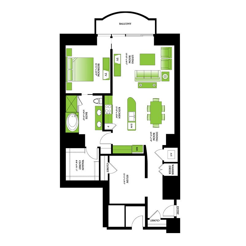 Boxwood Floor Plan | One Park Place Luxury Apartments Near Me