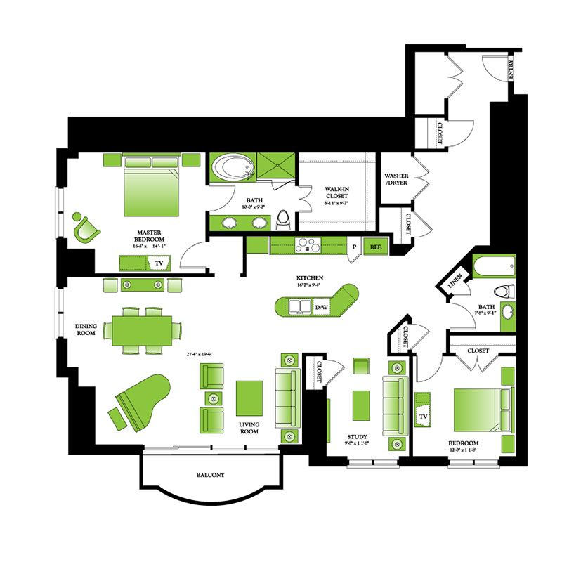 Dogwood Floor Plan | One Park Place Luxury High Rise Apartments