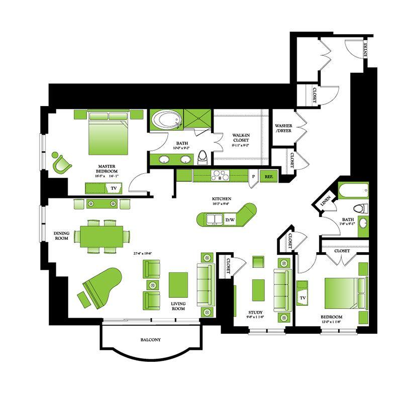 Floor plans one park place houston luxury apartments for Park place floor plans