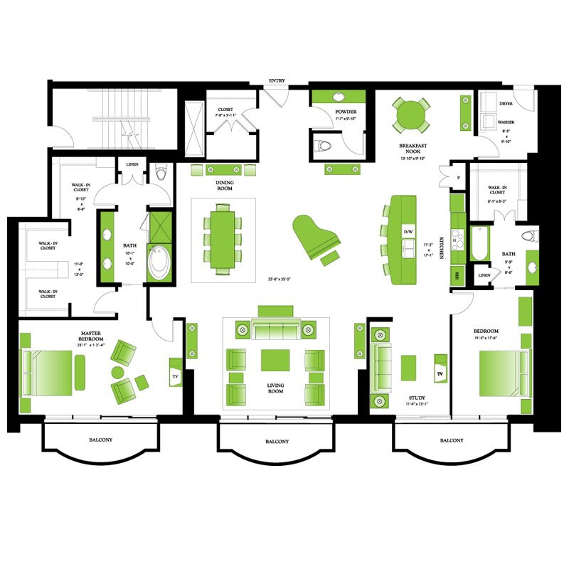 Penthouse 3 Floor Plan | One Park Place Downtown Houston High Rise