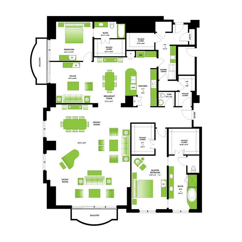 Floor Plans One Park Place Luxury Apartments Near Me